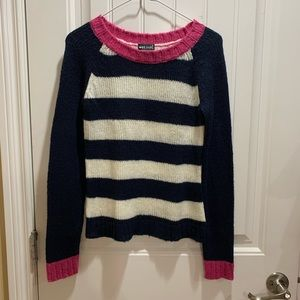 Pink Navy White Striped Sweater